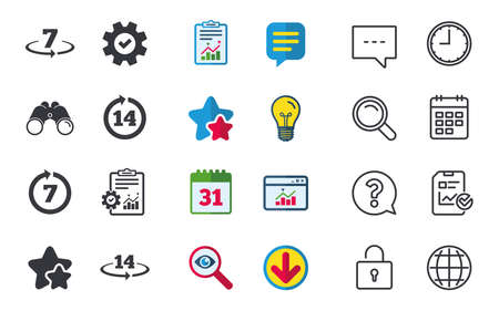 Return of goods within 7 or 14 days icons, Warranty 2 weeks exchange symbols, Chat, Report and Calendar signs, Stars, Statistics and Download icons, Question, Clock and Globe Vector Illustration