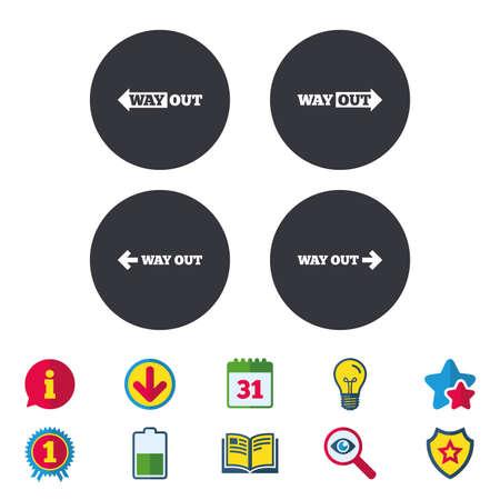 方法のアイコンを。左と右の矢印記号。方向に地下鉄で署名します。カレンダー、情報およびダウンロードに署名します。星、賞および本のアイコ