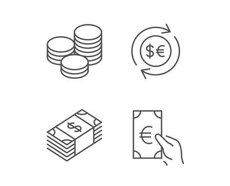 Money, Cash and Currency exchange line icons, Banking and Coins signs, Euro and Dollar symbols, Quality design elements, Editable stroke Vector Illustration