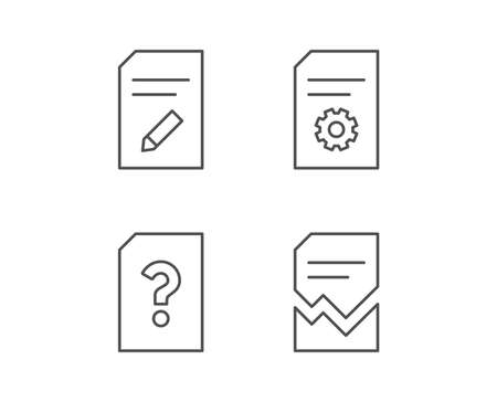 Document, Edit and Corrupt file line icons. Document Management, Question mark and Service signs. Quality design elements. Editable stroke. Vector Çizim