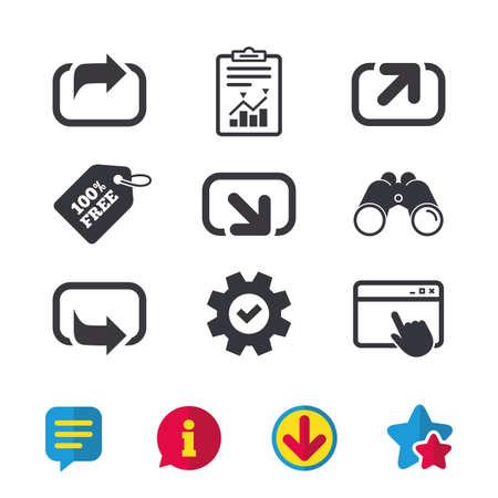 Actie pictogrammen. Symbolen delen. Stuur pijltekens vooruit. Browservenster, rapport en serviceborden. Verrekijker, informatie en download pictogrammen. Sterren en chatten. Vector