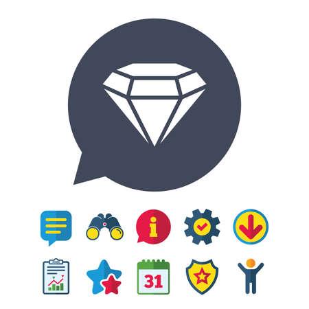 記号、ひし形のアイコン。ジュエリーのシンボル。宝石の石。情報・ レポート ・音声バブルの兆候。双眼鏡、サービス、ダウンロード、星のアイコ