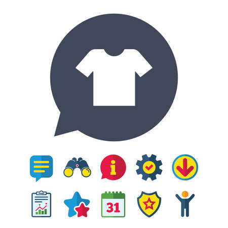 T-shirt sign icon. Clothes symbol. Information, Report and Speech bubble signs. Binoculars, Service and Download, Stars icons. Vector Illustration