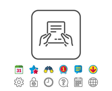 Hold Document line icon. Agreement Text File sign. Contract with signature symbol. Calendar, Globe and Chat line signs. Binoculars, Award and Download icons. Editable stroke. Vector