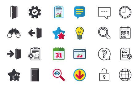 Deuren pictogrammen. Nooduitgang met pijlsymbolen. Uitgangstekens. Chat-, rapport- en kalenderborden. Sterren, Statistieken en Download pictogrammen. Vraag, klok en wereld. Vector