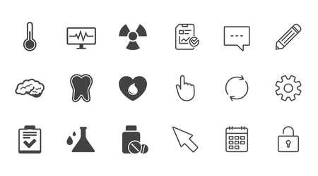 의학, 의료 건강 및 진단 아이콘입니다. 혈액 기부, 온도계 및 환 약 기호. 치아, 신경 기호입니다. 채팅, 보고서 및 캘린더 라인 기호. 서비스, 연필 및