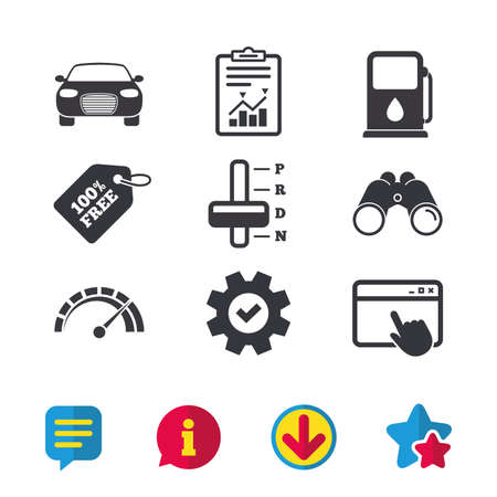 Transport icons. Car tachometer and automatic transmission symbols. Petrol or Gas station sign. Browser window, Report and Service signs. Binoculars, Information and Download icons. Stars and Chat