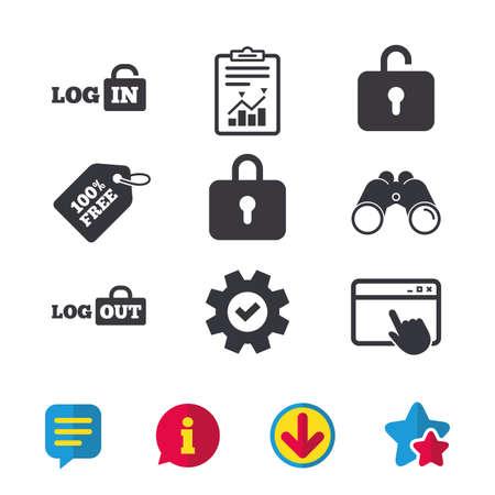 Iconos de inicio de sesión y cierre de sesión. Símbolos de inicio de sesión o de cierre de sesión. Icono de bloqueo. Ventana del navegador, signos de informes y servicio. Binoculares, información y descargar iconos. Estrellas y Chat. Vector Foto de archivo - 83230078