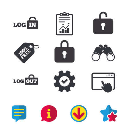 Login and Logout icons. Sign in or Sign out symbols. Lock icon. Browser window, Report and Service signs. Binoculars, Information and Download icons. Stars and Chat. Vector Ilustração
