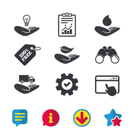 Helping hands icons. Intellectual property insurance symbol. Delivery truck sign. Save nature leaf and water drop. Browser window, Report and Service signs. Binoculars, Information and Download icons Illustration