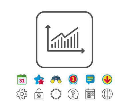 Chart line icon. Report graph or Sales growth sign. Analysis and Statistics data symbol. Calendar, Globe and Chat line signs. Binoculars, Award and Download icons. Editable stroke. Vector