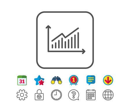 Grafiek lijn pictogram. Rapportgrafiek of omzetgroepteken. Analyse en statistieken gegevenssymbool. Agenda-, wereldbol- en chatlijnborden. Verrekijker, Award en Download pictogrammen. Bewerkbare lijn. Vector