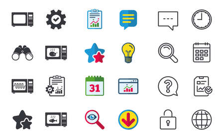 Microwave oven icons. Cook in electric stove symbols. Grill chicken and fish signs. Chat, Report and Calendar signs. Stars, Statistics and Download icons. Question, Clock and Globe. Vector Illustration