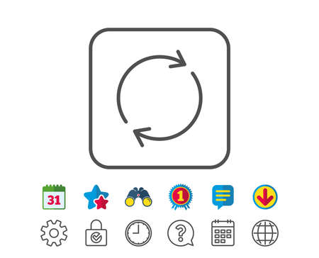 Refresh line icon: rotation arrow sign, reset or Reload symbol.