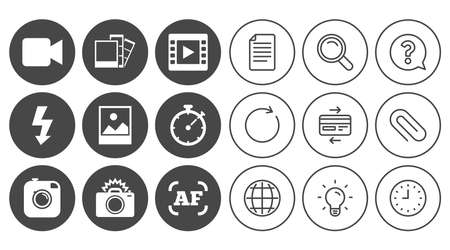 Photo, video icons. Camera, photos and frame signs. Flash, timer and landscape symbols. Document, Globe and Clock line signs. Lamp, Magnifier and Paper clip icons. Question, Credit card and Refresh Ilustração