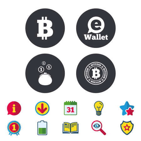 Bitcoin icons. Electronic wallet sign. Cash money symbol. Calendar, Information and Download signs. Stars, Award and Book icons. Light bulb, Shield and Search. Vector Illustration