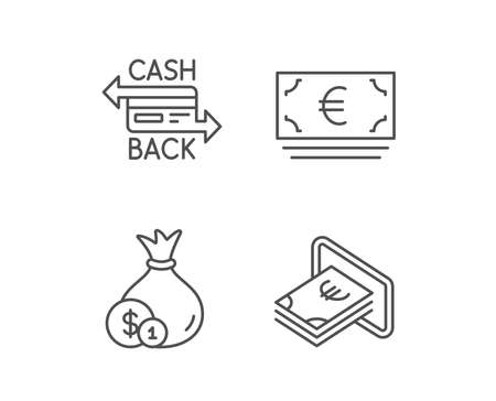Money bag, Cashback and ATM line icons. Credit card, Currency and Coins signs. Banking, Euro and Dollar symbols. Quality design elements. Editable stroke. Vector