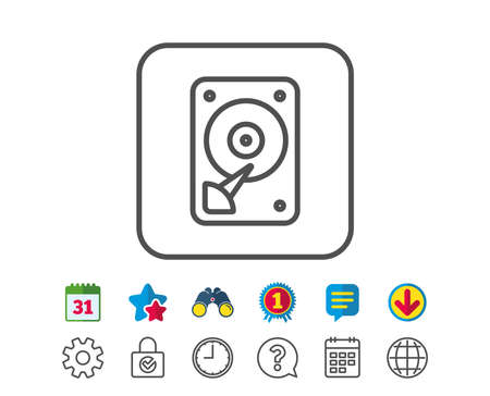 HDD icon. Hard disk storage sign. Hard drive memory symbol. Calendar, Globe and Chat line signs. Binoculars, Award and Download icons. Editable stroke. Vector Illustration