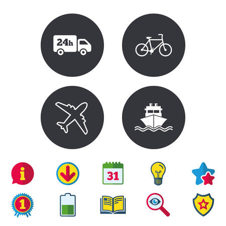 Cargo truck and shipping icons. Shipping and eco bicycle delivery signs. Transport symbols. 24h service. Calendar, Information and Download signs. Stars, Award and Book icons. Vector
