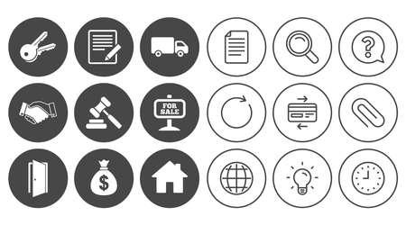 Onroerend goed, veilingpictogrammen. Handdruk, te koop en geld tas tekenen. Sleutels, bestelwagens en deursymbolen. Document, Globe en Clock lijntekens. Lamp-, vergrootglas- en paperclippictogrammen. Vector