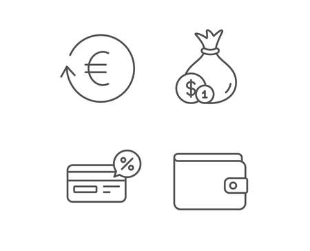 Money, Cashback and Wallet line icons. Credit card, Currency exchange and Coins signs. Banking, Euro and Dollar symbols. Quality design elements. Editable stroke. Vector