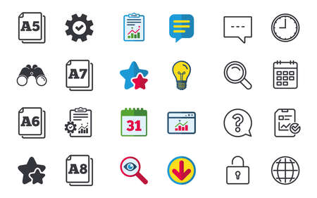 a7: Paper size standard icons. Document symbols. A5, A6, A7 and A8 page signs. Chat, Report and Calendar signs. Stars, Statistics and Download icons. Question, Clock and Globe. Vector