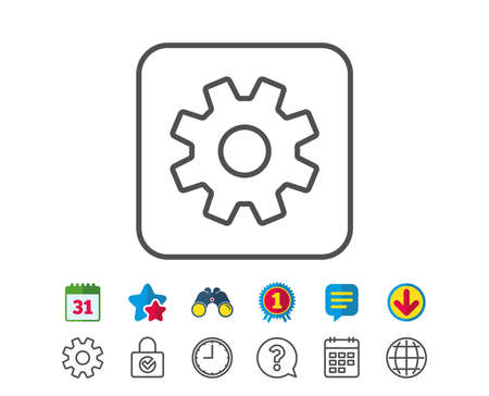 Cogwheel line icon. Service sign. Transmission Rotation Mechanism symbol. Calendar, Globe and Chat line signs. Binoculars, Award and Download icons. Editable stroke. Vector