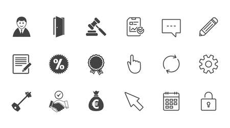 Real estate, auction icons. Home key, discount and door signs. Business agent, award medal symbols. Chat, Report and Calendar line signs. Service, Pencil and Locker icons. Click, Rotation and Cursor Illustration