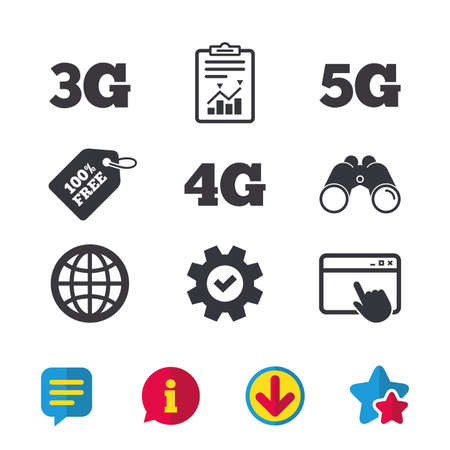 Mobile telecommunications icons. 3G, 4G and 5G technology symbols. World globe sign. Browser window, Report and Service signs. Binoculars, Information and Download icons. Stars and Chat. Vector Illustration