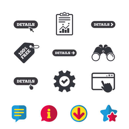 Details with arrow icon. More symbol with mouse and hand cursor pointer sign symbols. Browser window, Report and Service signs. Binoculars, Information and Download icons. Stars and Chat. Vector