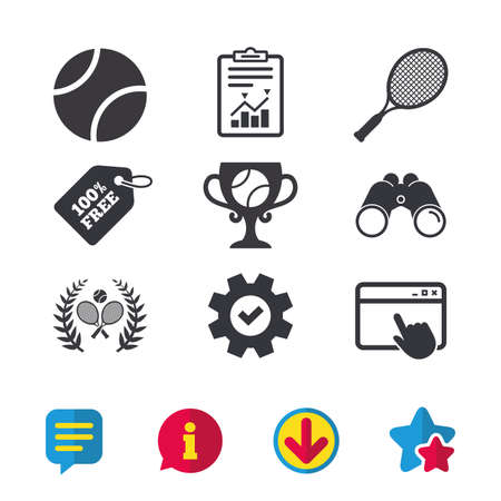 Tennis ball and rackets icons. Winner cup sign. Sport laurel wreath winner award symbol. Browser window, Report and Service signs. Binoculars, Information and Download icons. Stars and Chat. Vector Ilustracja