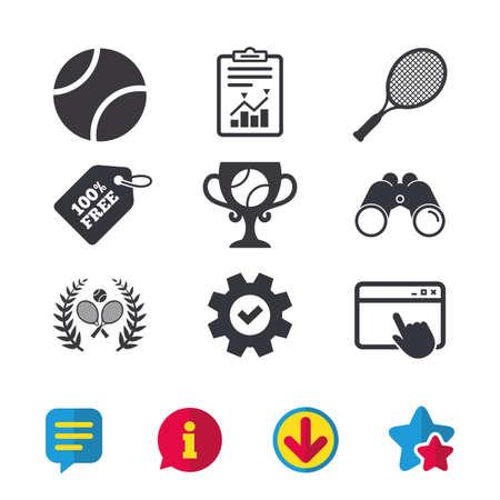 Tennisbal en rackets pictogrammen. Winnaar beker teken. Sport lauwerkrans winnaar award symbool. Browservenster, rapport en serviceborden. Verrekijker, informatie en download pictogrammen. Sterren en chatten. Vector