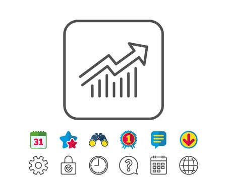 차트 라인 아이콘입니다. 보고서 그래프 또는 판매 성장 사인. 분석 및 통계 데이터 기호입니다. 달력, 글로브 및 채팅 줄 표지판. 쌍안경, 수상 및 다운 일러스트