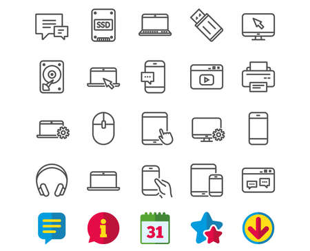 Mobile devices line icons. Иллюстрация
