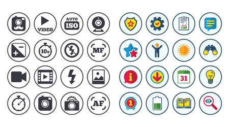 Set of Photo and Video theme icons, Camera, timer and frame signs, No flash and Auto focus symbols, Calendar, Report and Book signs, Stars, Service and Download icons, Binoculars, Lamp and Shield flag Illustration