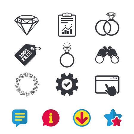 Rings icons. Jewelry with shine diamond signs. Wedding or engagement symbols. Browser window, Report and Service signs. Binoculars, Information and Download icons. Stars and Chat. Vector