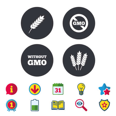 Agricultural icons. Gluten free or No gluten signs. Without Genetically modified food symbols. Calendar, Information and Download signs. Stars, Award and Book icons. Light bulb, Shield and Search