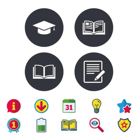 ドキュメントと鉛筆、本のアイコンを開きます。卒業キャップ記号です。高等教育は、標識を学ぶ。カレンダー、情報およびダウンロードに署名し  イラスト・ベクター素材