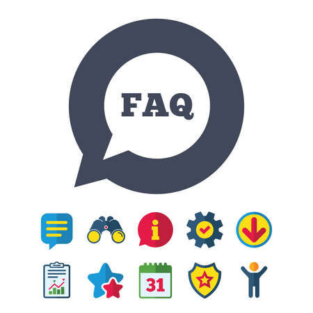 FAQ information sign icon. Help speech bubble symbol. Information, Report and Speech bubble signs. Binoculars, Service and Download, Stars icons. Vector