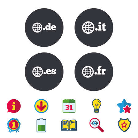 Top-level internet domain icons. De, It, Es and Fr symbols with globe. Unique national DNS names. Calendar, Information and Download signs. Stars, Award and Book icons. Light bulb, Shield and Search