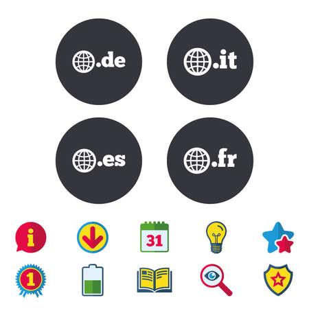 Top-level internet domein pictogrammen. De, It, Es en Fr symbolen met globe. Unieke nationale DNS-namen. Kalender, informatie en downloadborden. Stars, Award en Book-pictogrammen. Gloeilamp, schild en zoeken