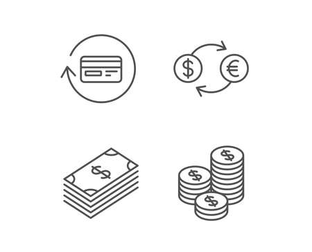 Money, Cash and Currency exchange line icons. Credit card, Banking and Coins signs. Euro and Dollar symbols. Quality design elements. Editable stroke. Vector