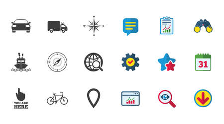 Navigation, gps icons. Windrose, compass and map pointer signs. Bicycle, ship and car symbols. Calendar, Report and Download signs. Stars, Service and Search icons. Statistics, Binoculars and Chat