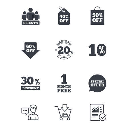 Sale discounts icon. Shopping, clients and speech bubble signs. 20, 30, 40 and 50 percent off. Special offer symbols. Customer service, Shopping cart and Report line signs. Vector Illustration