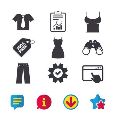 Kleren pictogrammen. T-shirt met zakelijke stropdassen en broekborden. Vrouwen kleden symbool. Browservenster, rapport en serviceborden. Verrekijker, informatie en download pictogrammen. Sterren en chatten. Vector Stockfoto - 83140139