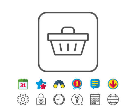 gift basket: Shopping cart line icon. Online buying sign. Supermarket basket symbol. Calendar, Globe and Chat line signs. Binoculars, Award and Download icons. Editable stroke. Vector