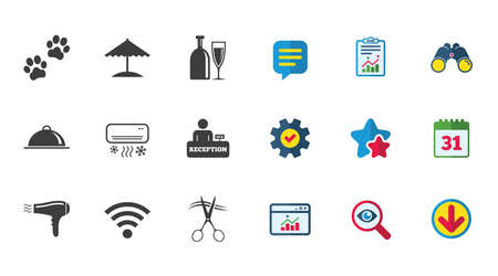 Hotel, apartment services icons. Wifi internet sign. Pets allowed, alcohol and air conditioning symbols. Calendar, Report and Download signs. Stars, Service and Search icons. Vector