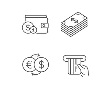 Money, Cash and Wallet line icons. Credit card, Currency exchange and Coins signs. Banking, Euro and Dollar symbols. Quality design elements. Editable stroke. Vector Illustration