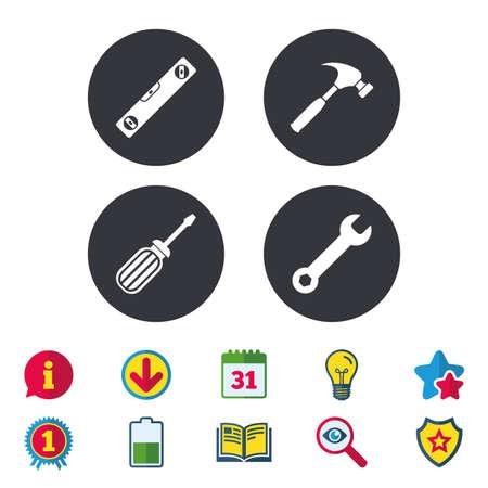 Schroevendraaier en sleutel sleutel gereedschapspictogrammen. Bellenniveau en hamertekensymbolen. Kalender, informatie en downloadborden. Stars, Award en Book-pictogrammen. Gloeilamp, schild en zoeken. Vector