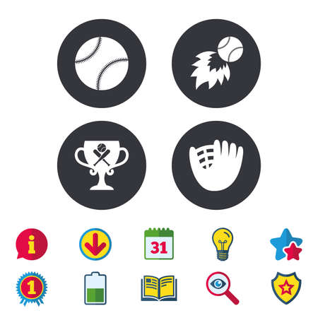 Baseball sport icons. Ball with glove and two crosswise bats signs. Fireball with award cup symbol. Calendar, Information and Download signs. Stars, Award and Book icons. Light bulb, Shield and Search Illustration